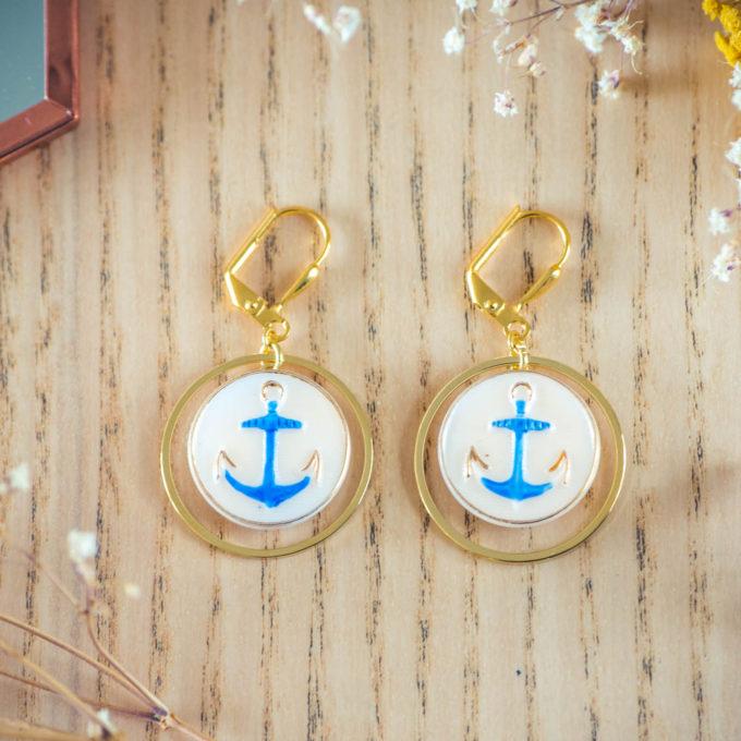 Assuna - Boucles d'oreilles tendance grandes dormeuses cercles Marine inspiration vintage