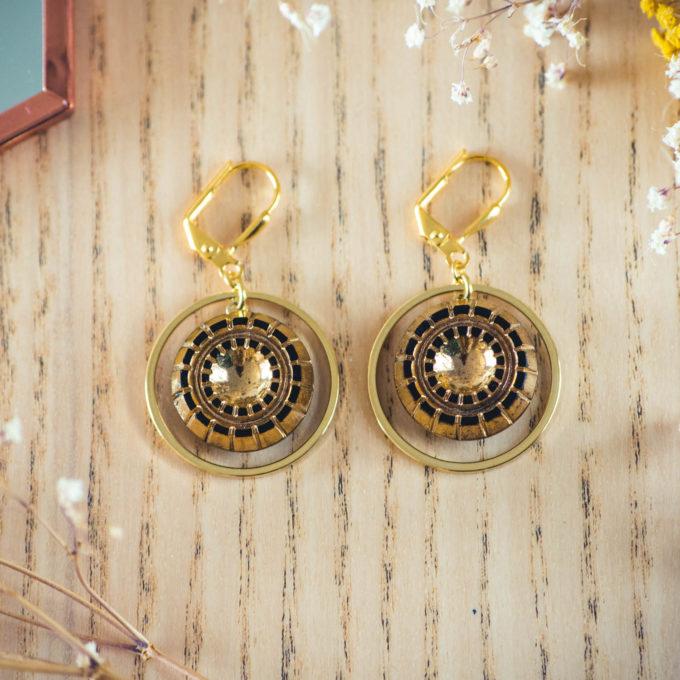 Assuna - Boucles d'oreilles tendance grandes dormeuses cercles Mathilde or inspiration vintage