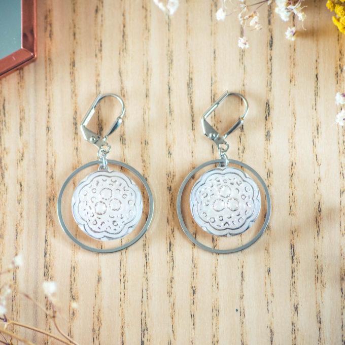 Assuna - Boucles d'oreilles grandes dormeuses cercles Ombeline inspiration vintage