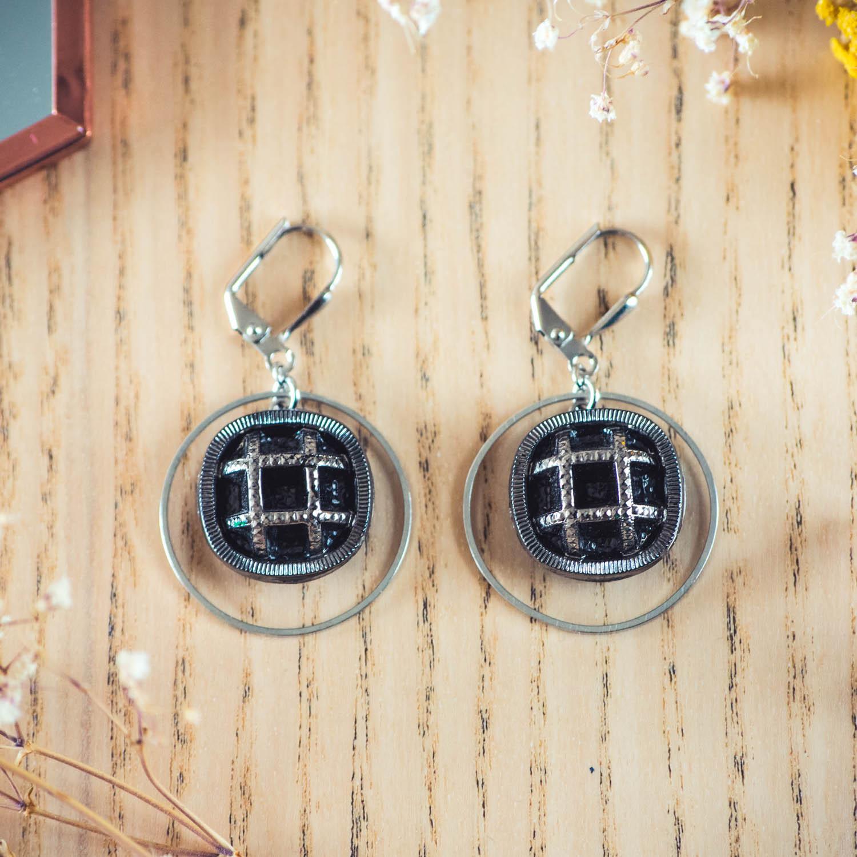 Assuna – Boucles d'oreilles grandes dormeuses cercles Paulette argent inspiration vintage