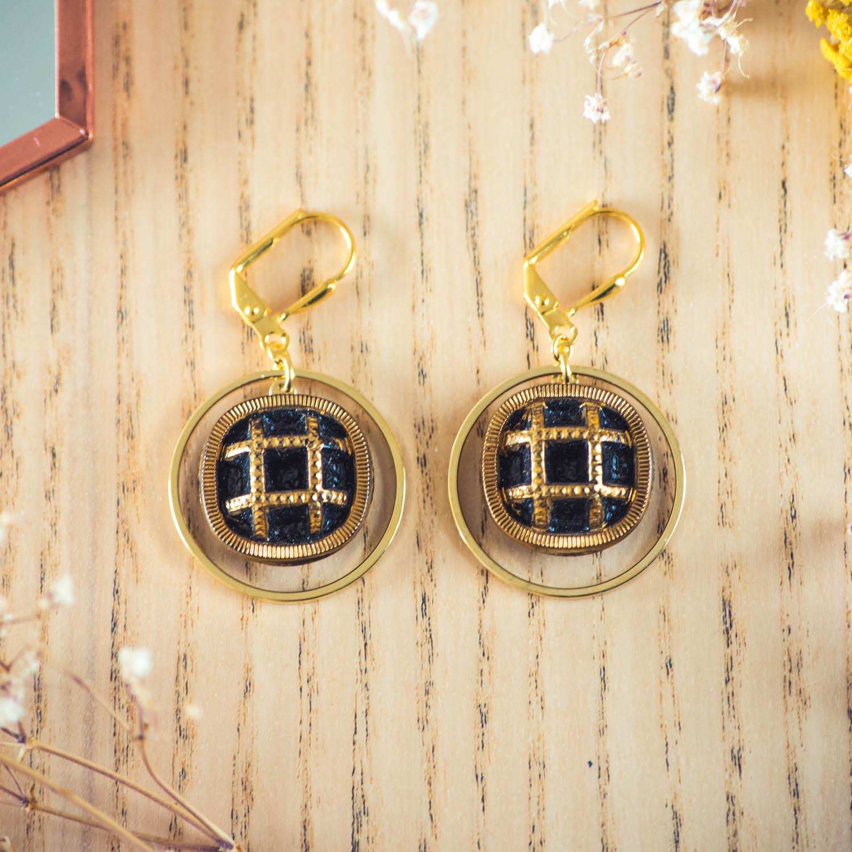 Assuna – Boucles d'oreilles grandes dormeuses cercles Paulette or inspiration vintage