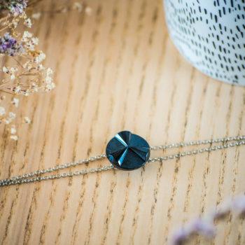 Bracelet double chaîne Angèle bleu