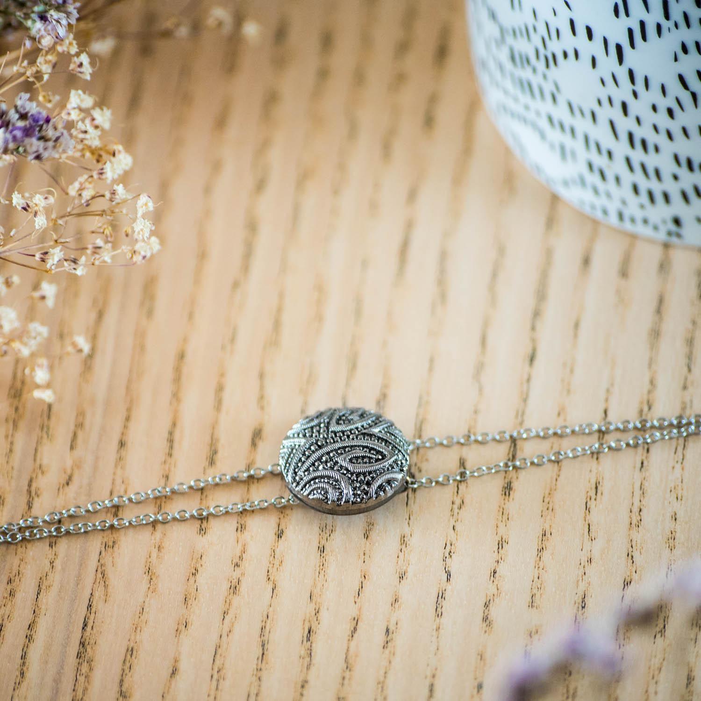 Assuna – Bracelet double chaîne Garance argent – inspiration vintage