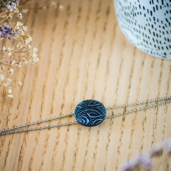 Assuna - Bracelet double chaîne Garance bleu - inspiration vintage