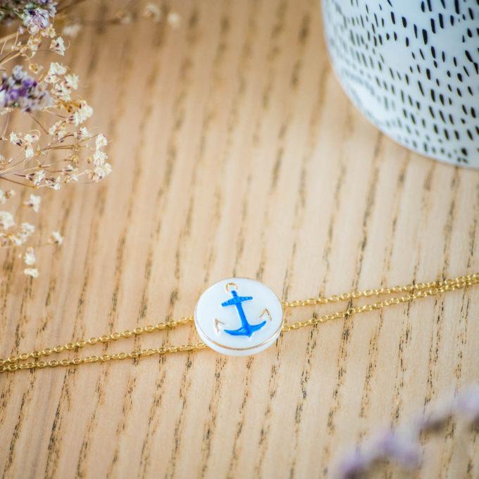 Assuna - Bracelet double chaîne Marine - inspiration vintage