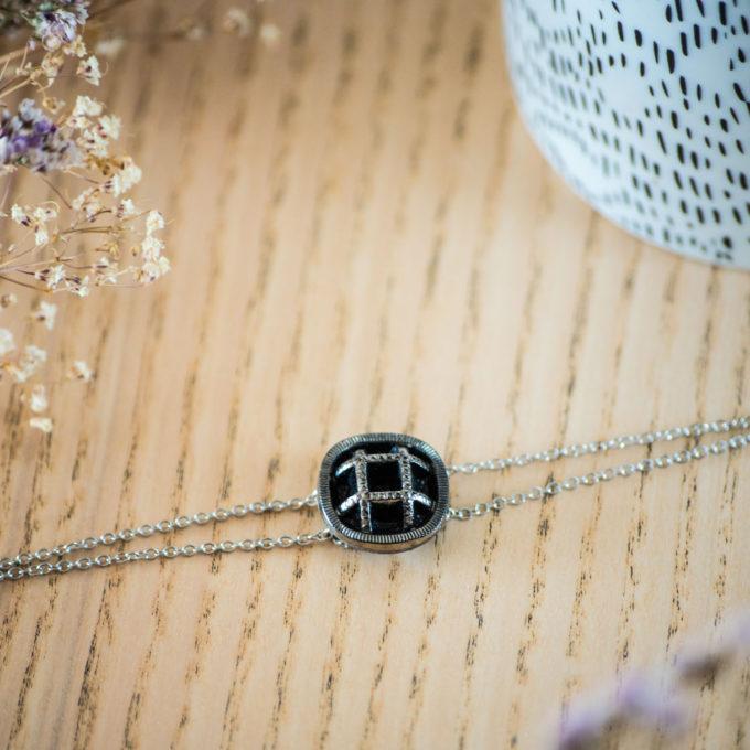Assuna - Bracelet double chaîne Paulette argent - inspiration vintage