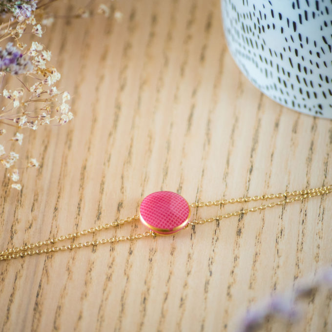 Assuna - Bracelet double chaîne Rose - inspiration vintage