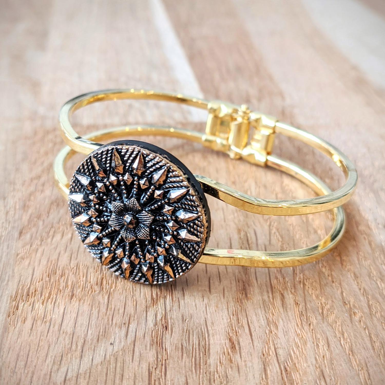 Bracelet vintage Inès doré – face