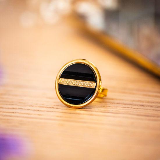 Assuna - Bague Constance dorée - Bague bouton ancien d'inspiration vintage