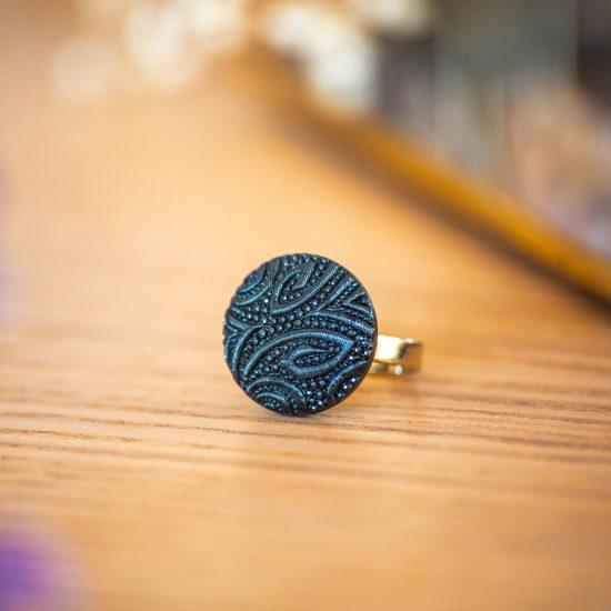 Assuna - Petite bague Garance bleue - bouton ancien - inspiration vintage