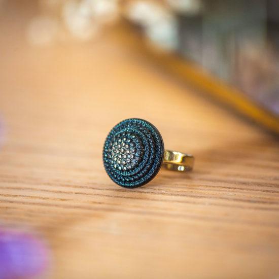 Assuna - Petite bague Isild argentée - bouton ancien - inspiration vintage