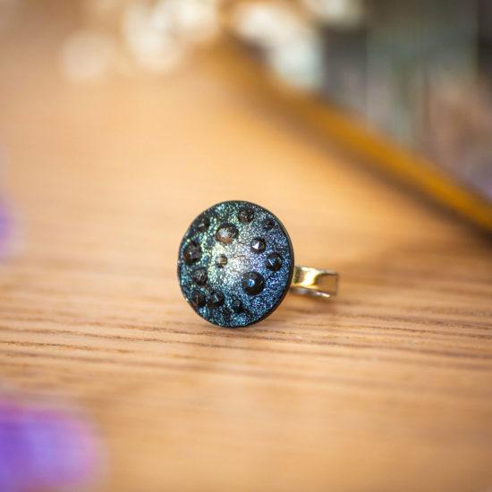 Assuna - Petite bague Lucienne argentée - bouton ancien - inspiration vintage