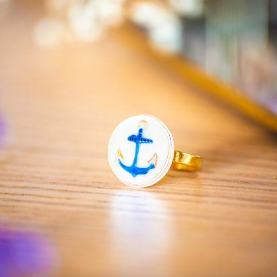 Assuna - Petite bague Marine - Petite bague bouton ancien d'inspiration vintage