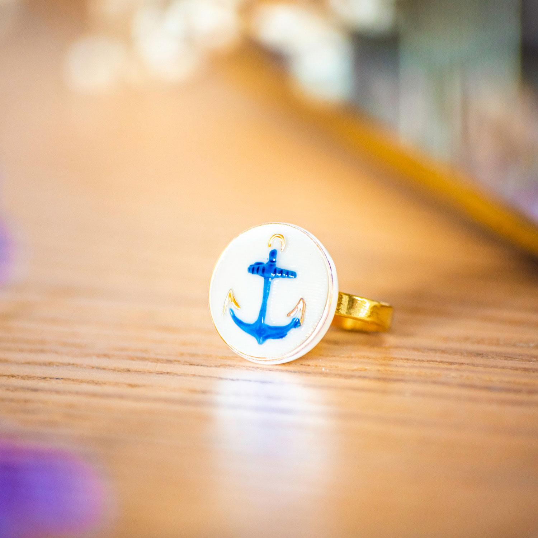 Assuna – Petite bague Marine – Petite bague bouton ancien d'inspiration vintage
