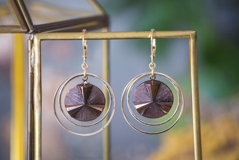 Assuna – Grandes boucles Lunare Angèle bronze et doré – inspiration vintage