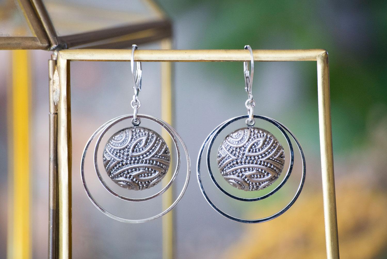 Assuna – Grandes boucles Lunare Garance argenté – Grandes dormeuses double cercles Garance argenté – inspiration vintage