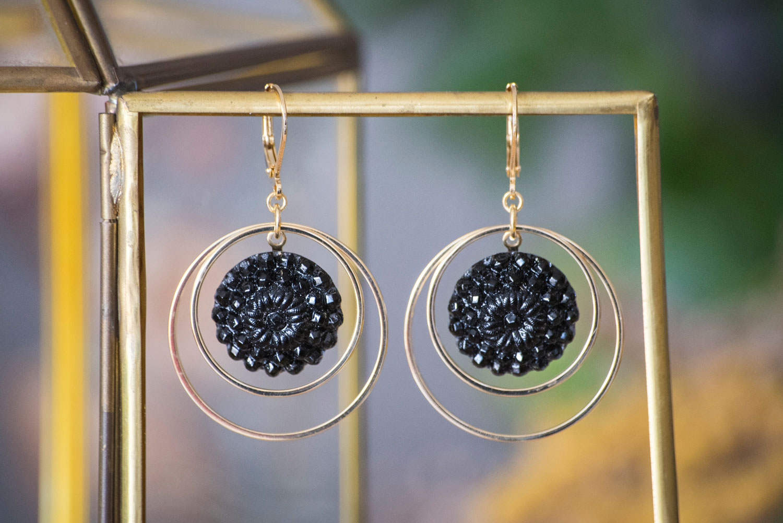 Assuna – Grandes boucles Lunare Marthe noir – inspiration vintage