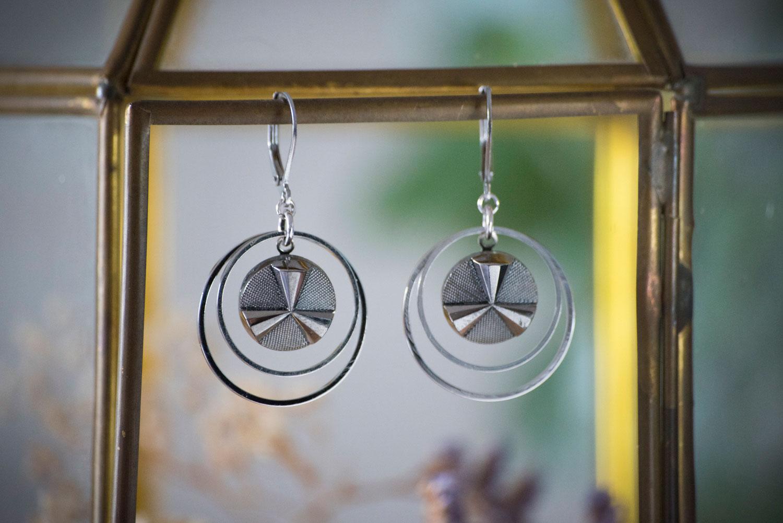 Assuna – Petites boucles Lunare Angèle argentée – inspiration vintage