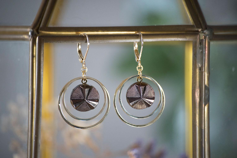 Assuna – Petites boucles Lunare Angèle bronze – inspiration vintage