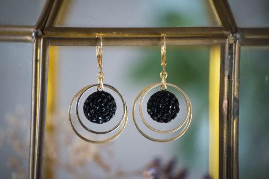 Assuna - Petites boucles Lunare Gilberte noir - inspiration vintage
