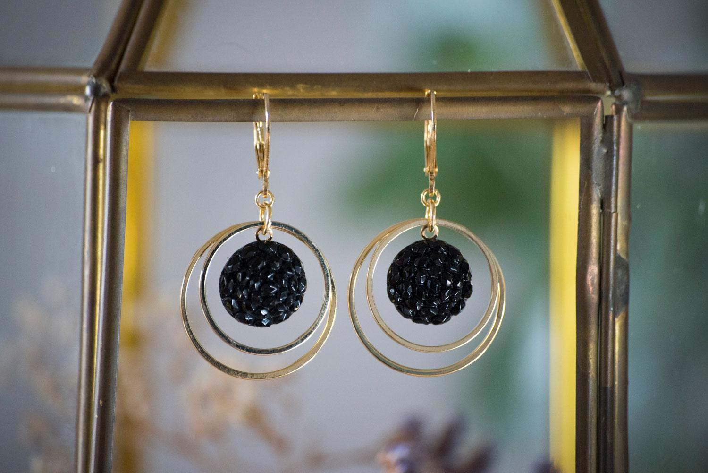 Assuna – Petites boucles Lunare Gilberte noir – inspiration vintage