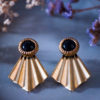 Assuna - Boucles Comète Eva - Boucles d'oreilles bouton ancien sur estampe en éventail