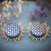 Assuna - Boucles Solare Eugénie bleu - Boucles d'oreilles bouton ancien sur estampe solaire