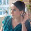 Assuna - Boucles Solare Judith - Boucles d'oreilles bouton ancien sur estampe solaire
