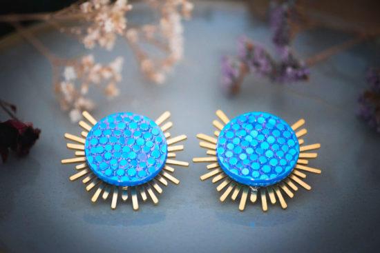 Assuna - Boucles Solare Luna - Boucles d'oreilles bouton ancien sur estampe solaire
