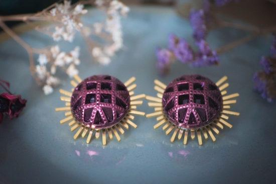 Assuna - Boucles Solare Reine rose - Boucles d'oreilles bouton ancien sur estampe solaire