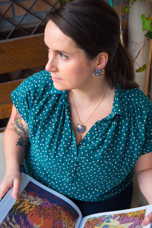 Assuna – Collier et boucles Solare Eugénie bleu – Collier et boucles d'oreilles bouton ancien sur estampe solaire