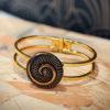 Assuna - Bracelet vintage Galatée art déco - bracelet rigide avec un bouton ancien