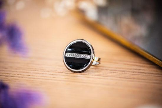 Assuna - Bague Constance argentée - Bague bouton ancien d'inspiration vintage