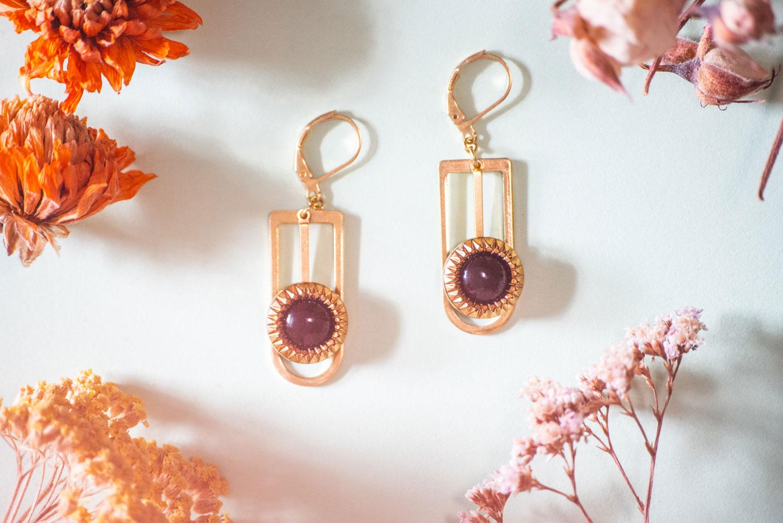 Assuna – Boucles Ysée Eva – bijoux léger géométrique bouton ancien inspiration vintage